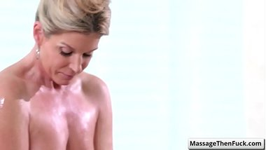 Hot blonde mature masseuse India Summer suck her clients cock and slide her wet body covered in nuru gel over him