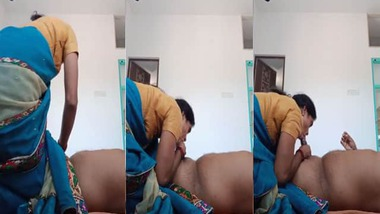 Mallu maid blowjob to her house owner with saree on