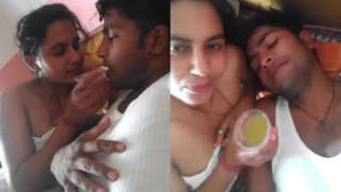 Lovely Indian couple wakes up together in bed after awesome chudai
