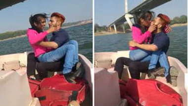 Young Desi couple tenderly makes out during outdoor trip on XXX boat